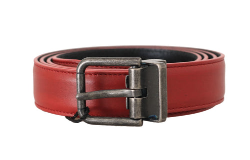Red Leather Gray Brushed Buckle Mens Belt