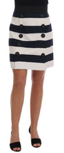 Load image into Gallery viewer, Blue White Pencil Cotton Stretch Skirt