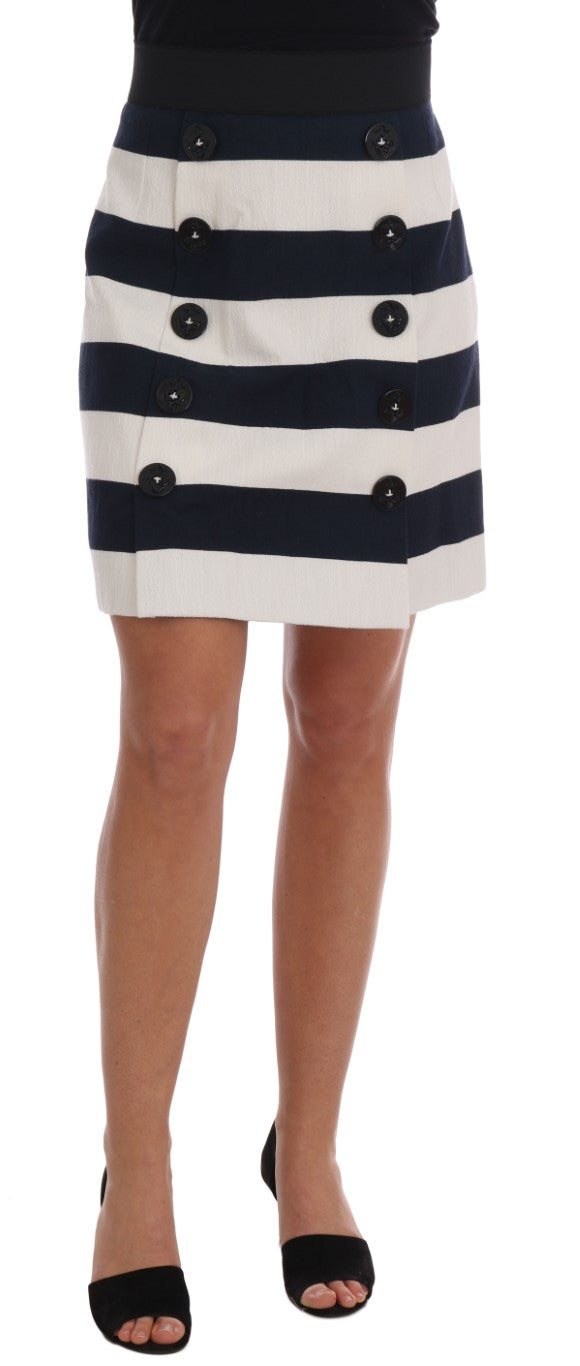Blue White Pencil Cotton Stretch Skirt