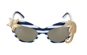 White MARINA Gold Seastar Seahorse Sunglasses