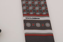 Load image into Gallery viewer, Gray Silk Red Pattern Scarf