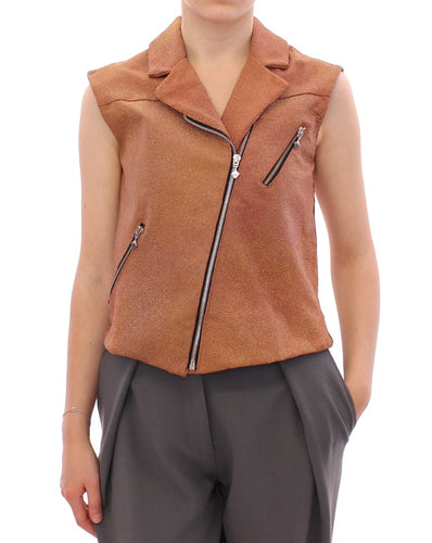 Brown Leather Jacket Vest