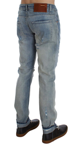 Blue Wash Torn Denim Cotton Slim Fit Jeans