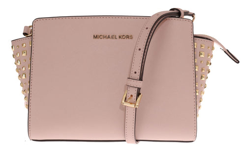 Pale Pink SELMA STUD Leather Messenger Bag