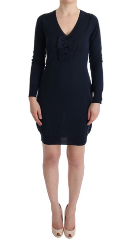 Blue Wool Long Sleeve Shift Dress
