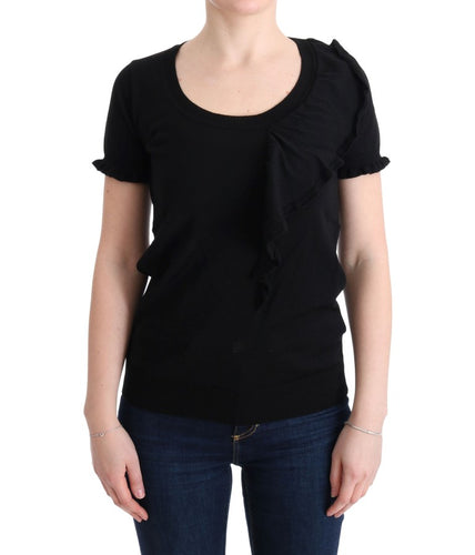 Black 100% Lana Wool Top Blouse T-shirt