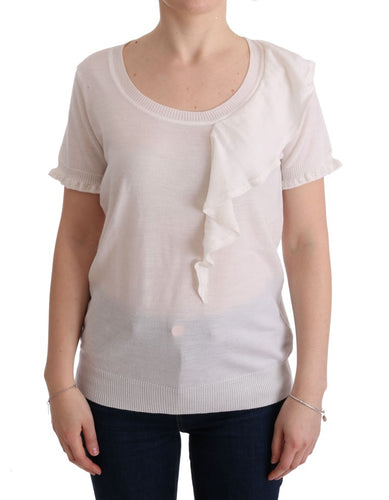 White 100% Lana Wool Top Blouse T-shirt