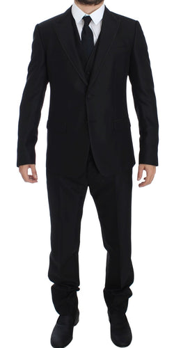 Black Wool Silk Slim 3 Piece Suit Tuxedo