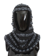 Load image into Gallery viewer, Gray Cashmere Glass Pearl Beaded Hood Scarf Hat
