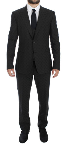 Gray Polka Wool Stretch Slim 3 Piece Suit