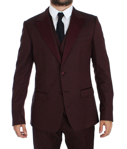 Bordeaux 3 Piece Slim Fit Suit Tuxedo