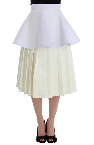 White Peplum A-Line Straight Pleated Skirt