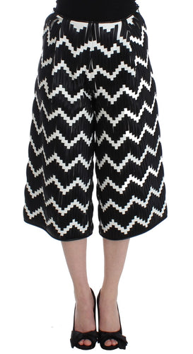 Black White Chevron Nappa Leather Shorts