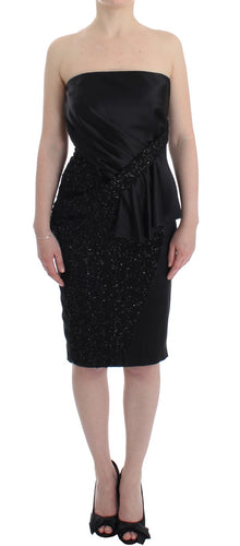 Black Strapless Embellished Pencil Dress