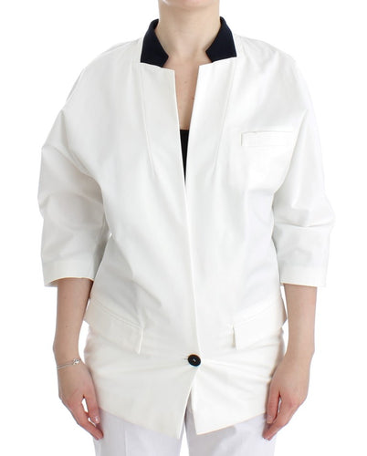 White Cotton Blend Oversized Blazer Jacket
