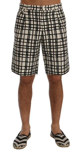White Black Striped Casual Shorts