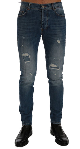 Blue Wash Torn Dunfermile Slim Fit Jeans