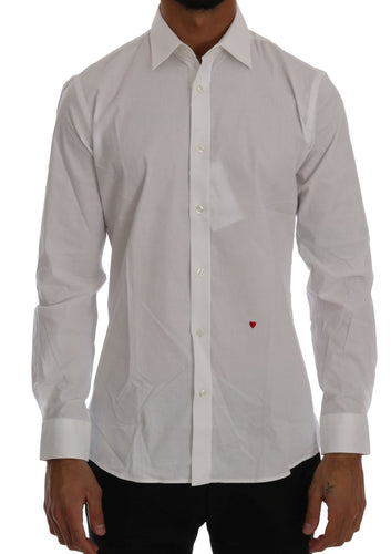 White Cotton Stretch Slim Fit Dress Shirt