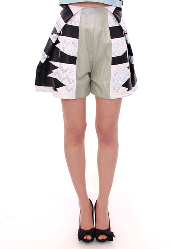 Blue Black Soft Nappa Leather Shorts