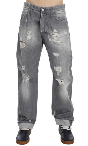 Gray Wash Denim Cotton Baggy Fit Jeans