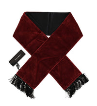 Load image into Gallery viewer, Bordeaux Velvet Fringes Scarf