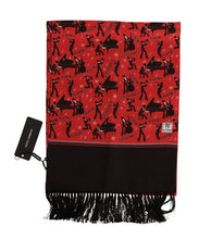 Load image into Gallery viewer, Red Silk Music Print Scarf