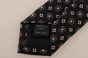 Black Silk Patterned Wide Tie