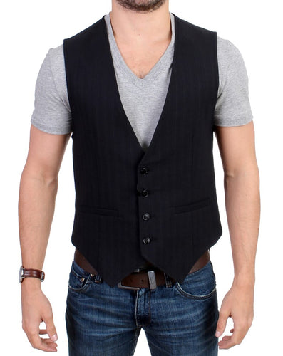 Black striped cotton casual vest