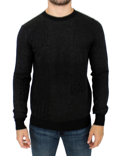 Gray crew-neck pullover sweater