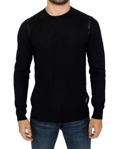 Black Wool Blend Logo Crewneck Pullover Sweater