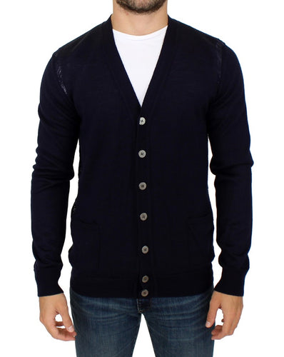 Blue wool cardigan sweater