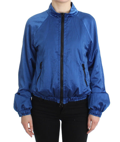 Blue Bomber Jacket Coat Blazer Short Nylon