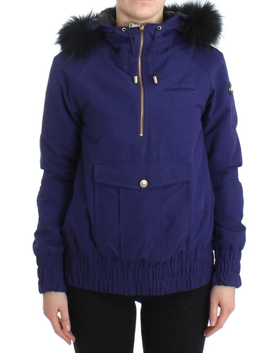 Blue Padded Jacket Hooded Short K-Way