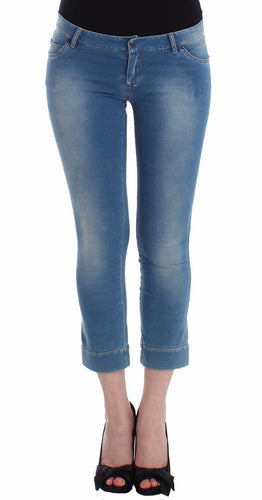 Beachwear Blue Jeans Capri Pants Cropped