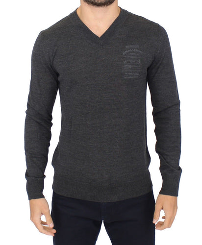 Gray Wool Blend V-neck Pullover Sweater