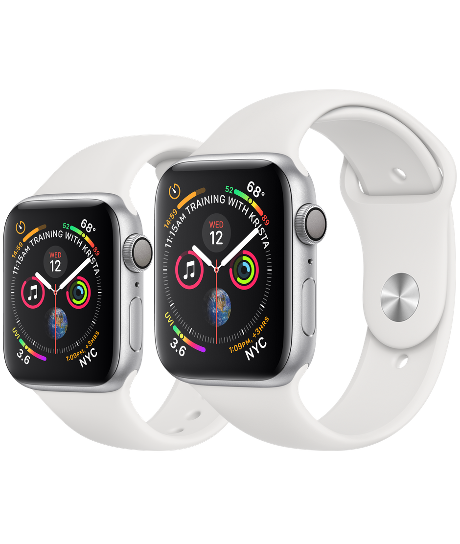 the latest ae639 a3745 Apple Watch Series 4 Silver Aluminum Case with White Sport Band