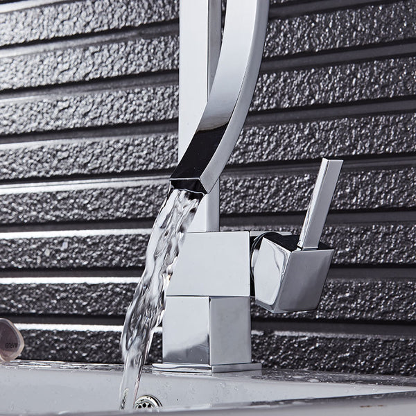 DALE Modern Black Curved Waterfall Faucet