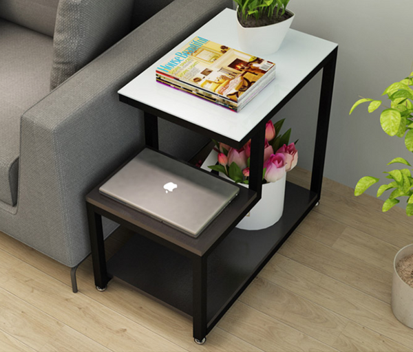 SUMI Contemporary Glass Top Side Table