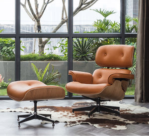 Modern Leather Armchair with Ottoman