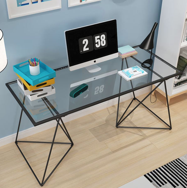 Tempered Glass Wire Frame Writing Office Table