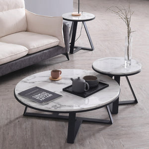 MARRIOT Round Marble Coffee Table Set