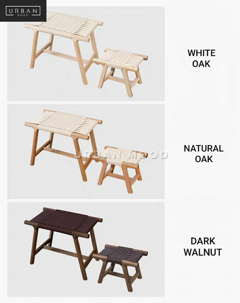 NIFTY Rustic Solid Wood Rattan Bench