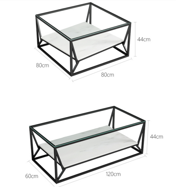 Modern Industrial Glass Top Coffee Table