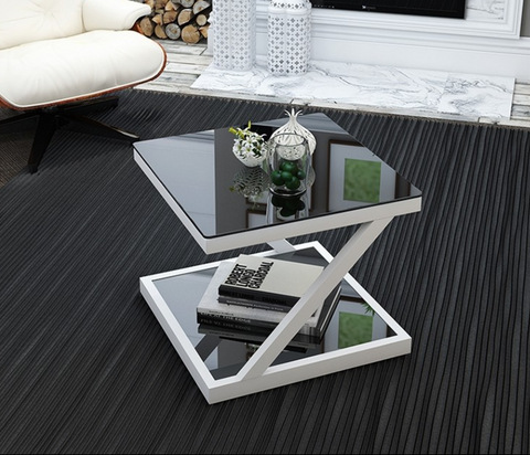 LORENZO Contemporary Z Tempered Glass Top Side Table