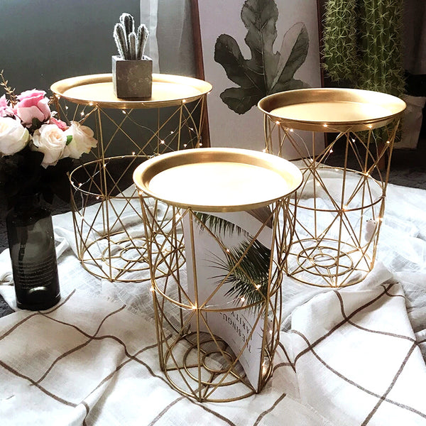 Quirky Versatile Gold Metal Frame Side Table