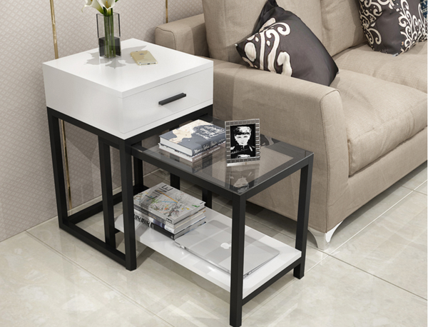 KENSINGTON Contemporary Glass Side Drawer Table