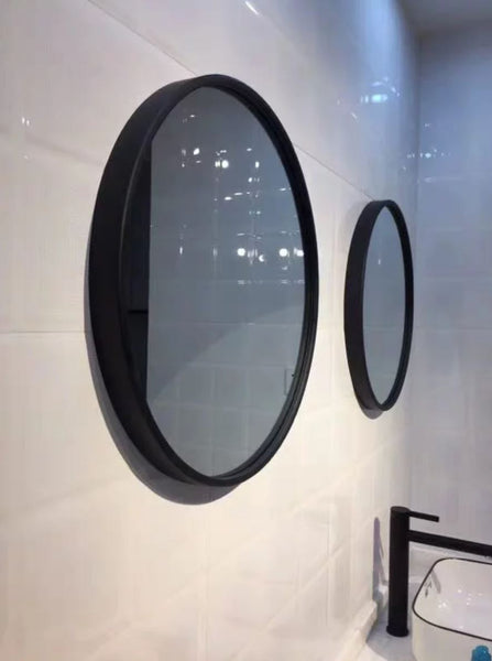 AERIE Modern Industrial Large Round Wall Mirror