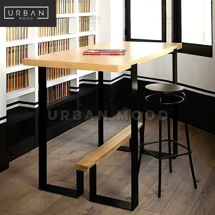 BRETHREN Industrial Solid Wood Bar Dining Table