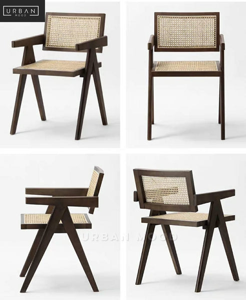 BONE Vintage Solid Wood Rattan Chair