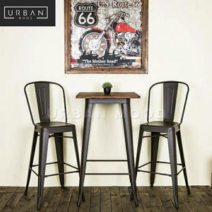 BOWIE Industrial Tolix Bar Table & Stools
